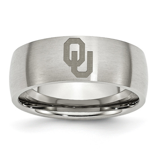 University Of Oklahoma Laser Etch Ring Stainless Steel