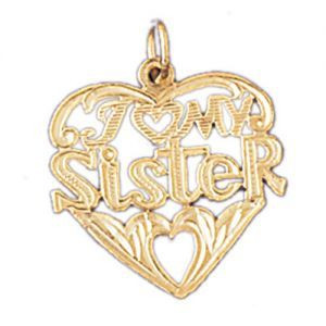 97f29e4a937f5 I Love My Sister Pendant Necklace Charm Bracelet in Gold or Silver 9946