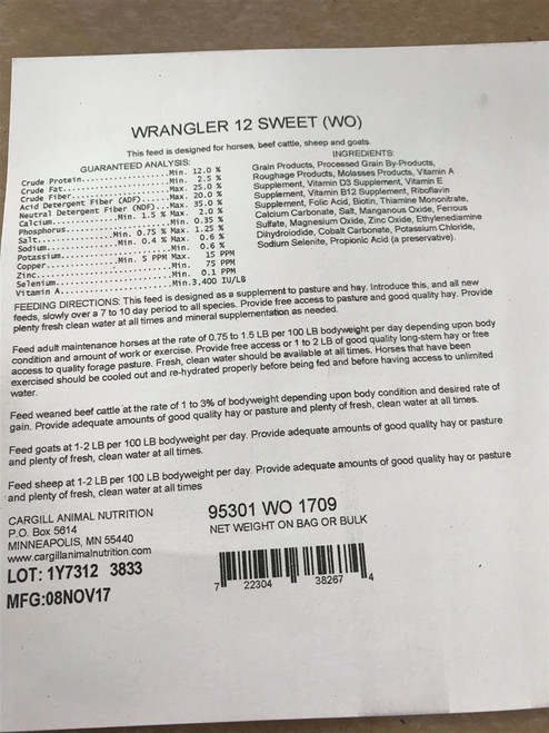 Wrangler 12% All Stock Sweet Feed