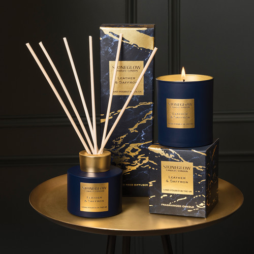 Luna - Leather & Saffron - Scented Candle - Boxed Tumbler