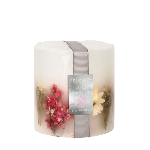 Nature's Gift Geranium Rosa Pillar Candle