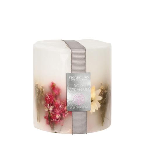 Nature's Gift - Geranium Rosa - Scented Candle - Inclusion Pillar