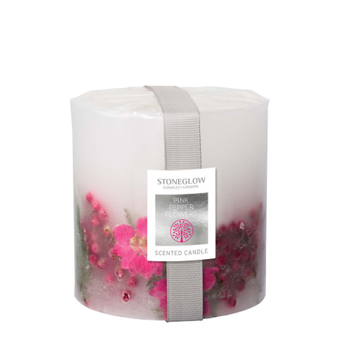 Nature's Gift Pink Pepper Flowers Pillar Candle