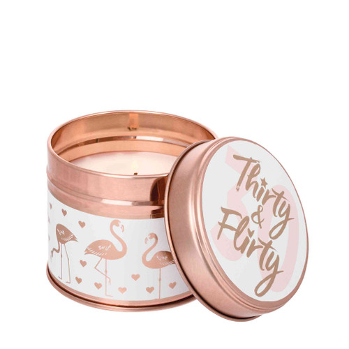 Milestone Scented Candle Tins: Thirty & Flirty Grapefruit & Lime