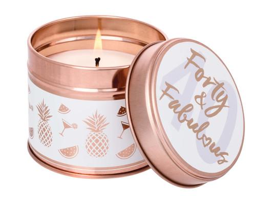 Celebration Milestone - Forty & Fabulous - Scented Candle Tin (Pineapple & Tangerine)