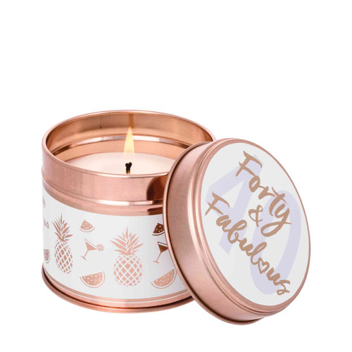 Milestone Scented Candle Tins: Forty & Fabulous Pineapple & Tangerine