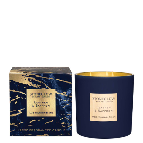 Luna - Leather & Saffron - Scented Candle - 3-Wick Boxed Tumbler (Large)