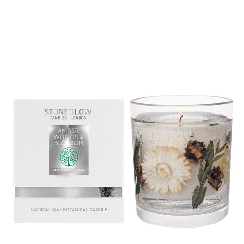 Nature's Gift Amber Woods & Blossom Natural Wax Gel Candle Vase