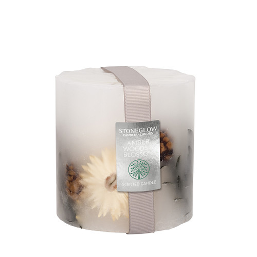 Nature's Gift Amber Woods & Blossom Pillar Candle