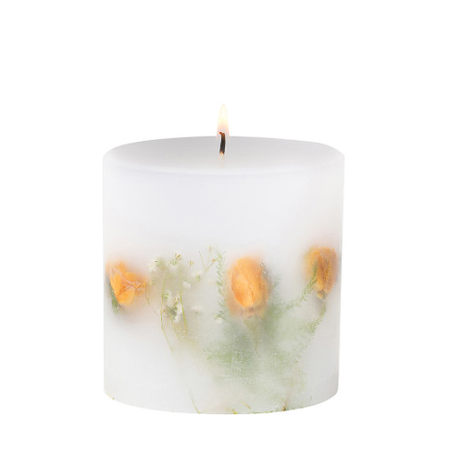 Nature's Gift - Yellow Tea Rose - Scented Candle - Inclusion Pillar