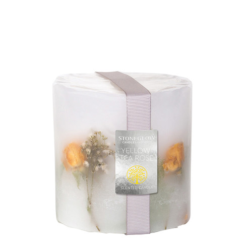 Nature's Gift  - Yellow Tea Rose Inclusion Pillar