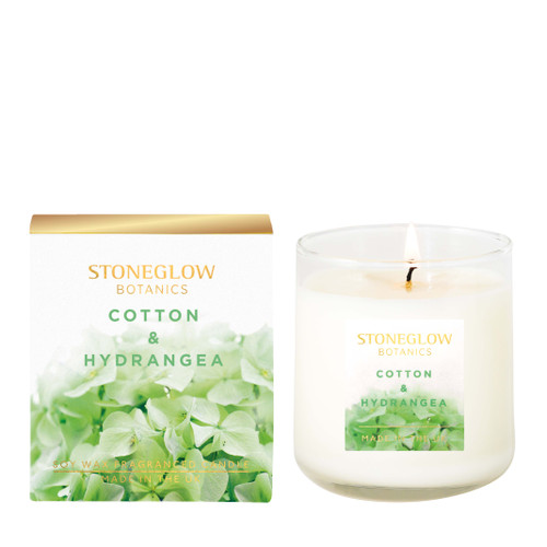 Botanic - Cotton & Hydrangea Boxed Scented Candle 190gms