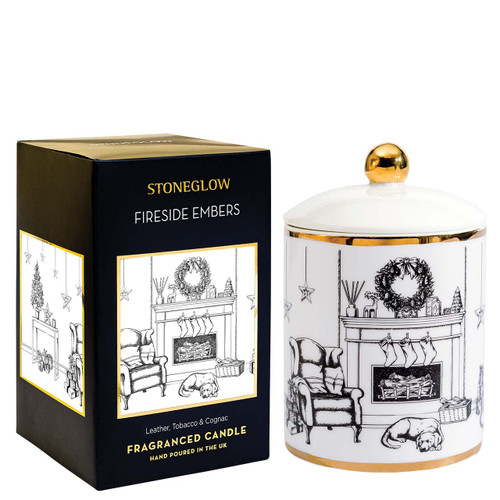Keepsake - Ceramic - Fireside Embers   Leather, Tobacco & Cognac - Scented Candle