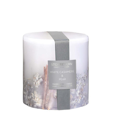 Seasonal Collection - White Cashmere & Pear - Scented Candle - Inclusion Pillar