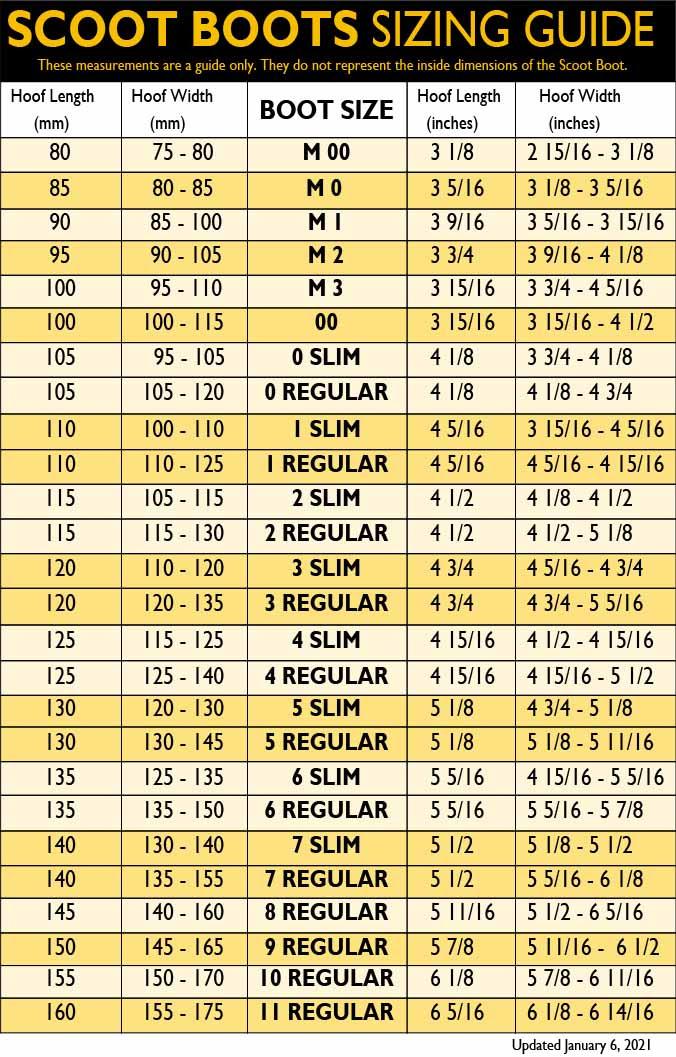 Scoot Boot Sizing Chart