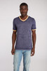 Men's Color-Block Burnout Ringer V-Neck Tee -Organic Cotton/Recycled Polyester