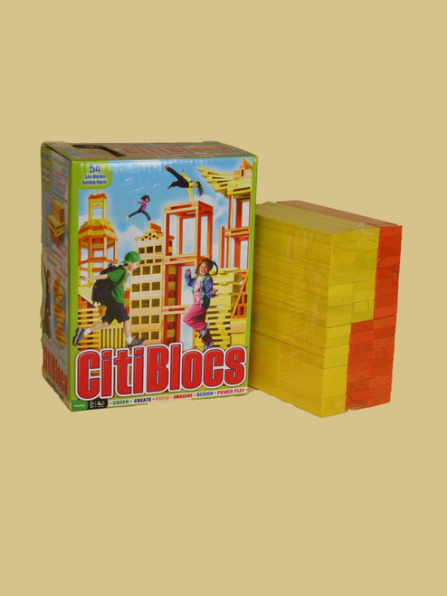 54 Piece Wooden Building Color Set  - Sustainable