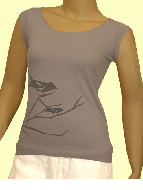 Bird on Branch Top - Organic Cotton
