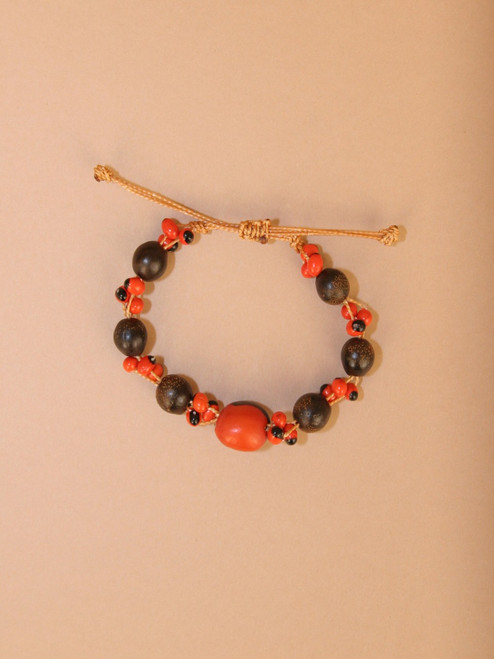 Orange and Black Tagua Bracelet