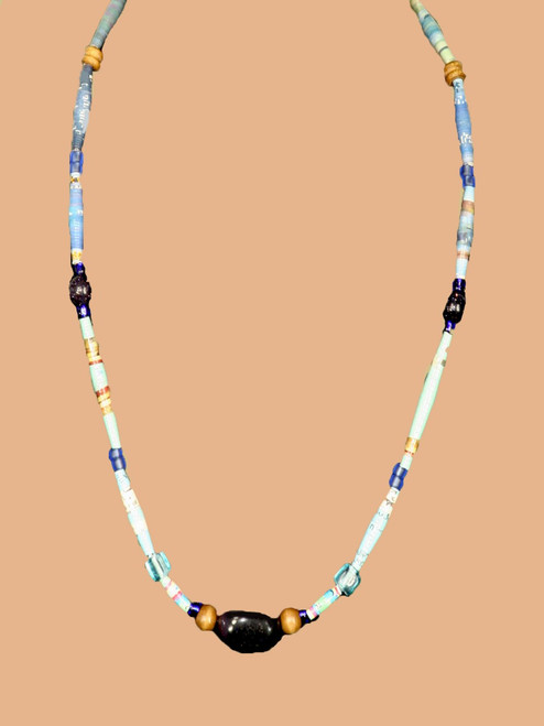 Black Rectangular Stone, Single Strand Necklace - Eco Beads