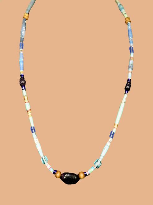Black Rectangular Stone, Single Strand Necklace - Eco Beads