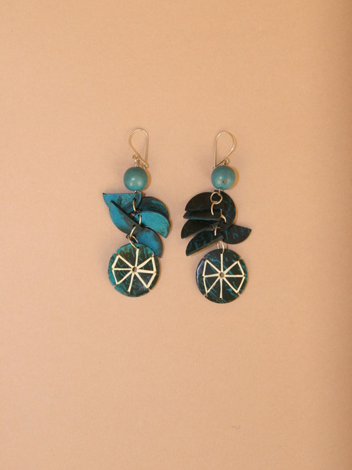 Blue Circular Pendant Earrings