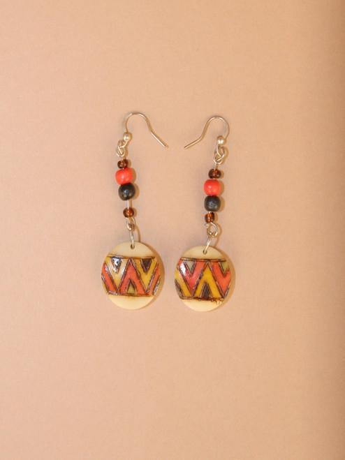 ZigZag Carved Tagua Dangle Earrings