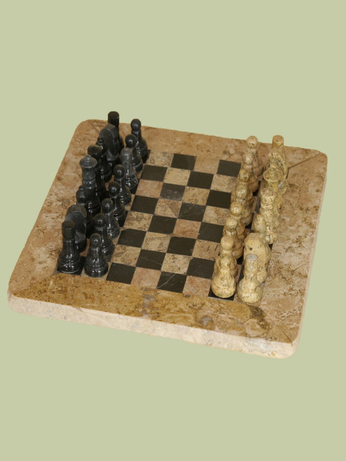 Chess set Fossil Stone
