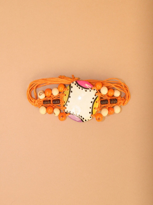 Orange Coconut and Tagua Bracelet