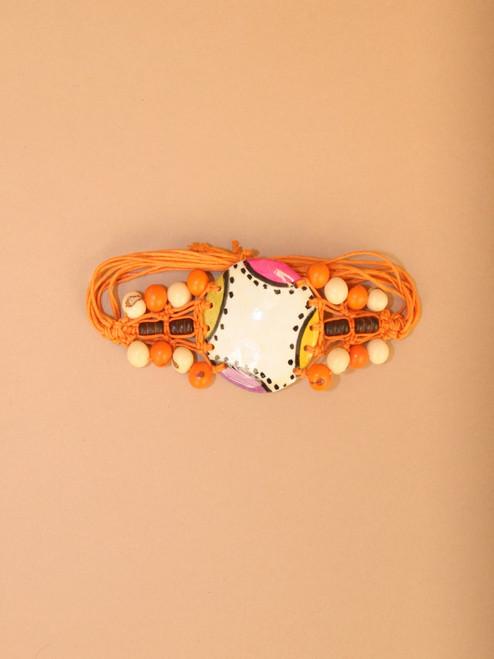 Orange Coconut and Tagua Bracelet
