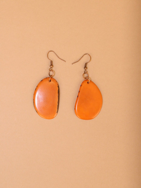 Dangle Orange Tagua Earrings