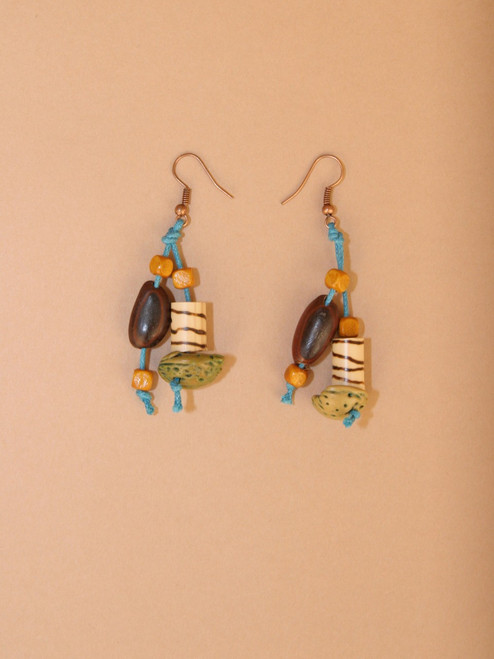 Zebra with Blue String Earrings