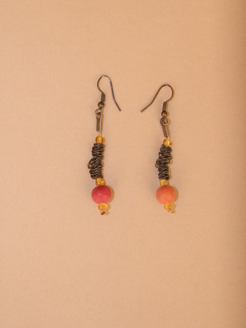 Dangle Red Natural Seeds Earrings