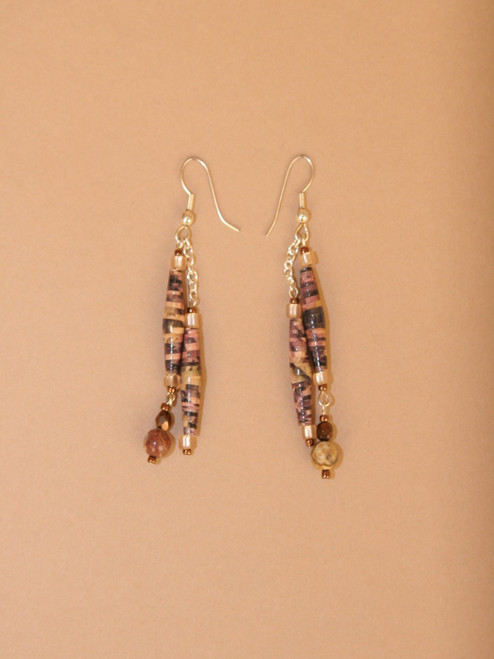 Dark Brown & Black Double Strand Earrings