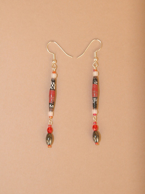 Dark Red & Black Single Strand Earrings