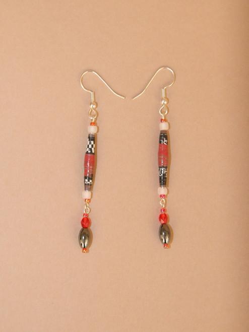Dark Red & Black Single Strand Earrings