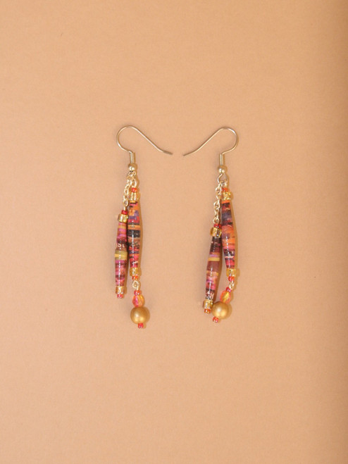 Pink & Gold Double Strand Earring - Eco Beads