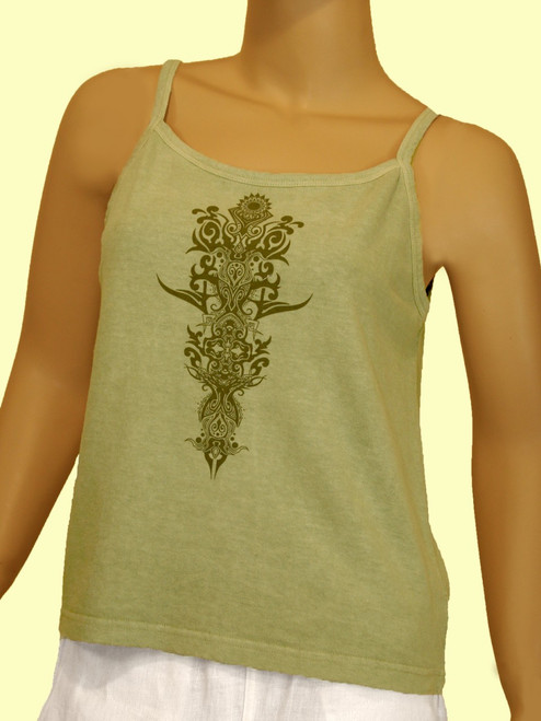 Tribal Tattoo On Tank Top - 55% Hemp / 45% Organic Cotton Jersey