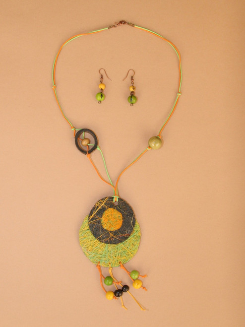 Green and Orange Fique Necklace and Earring Set