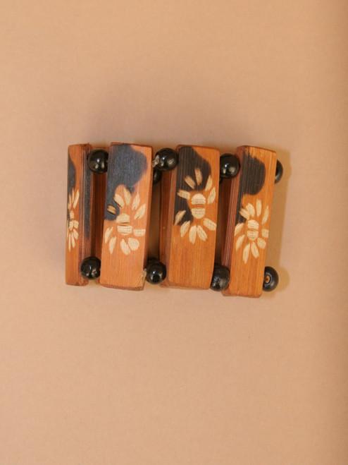 Flower Pendant Wood & Tagua Bracelet
