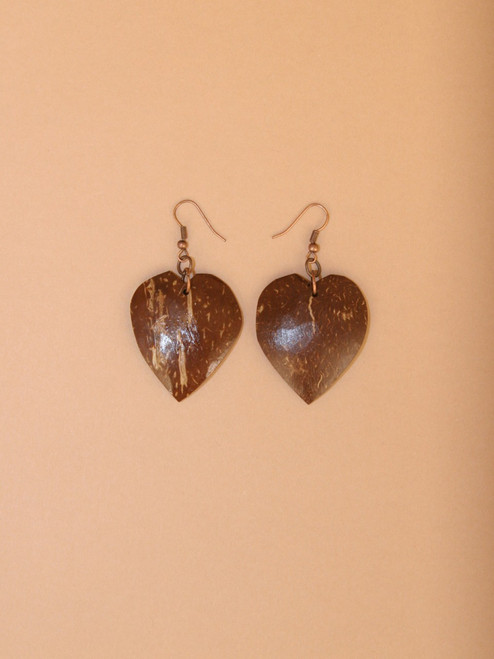 Heart Dangle Coconut Earrings