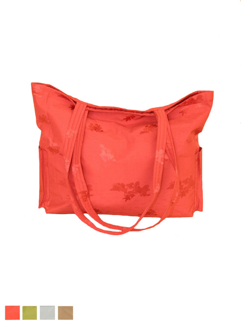 Jacquard Silk Tote Bag Yoga or Resort Wear - Tangerine
