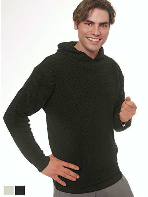 Men's Knit Hooded Sweater - Hemp/Flax