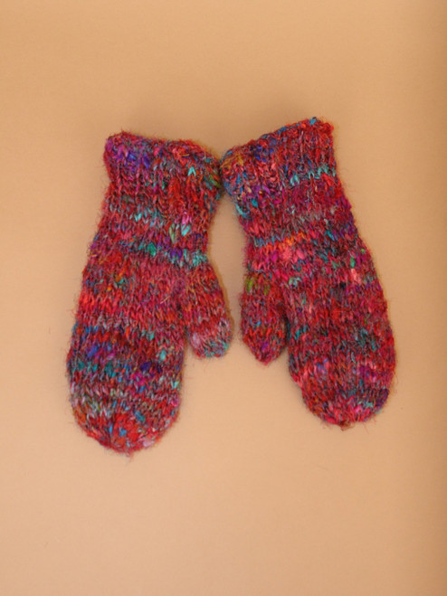 Recycled Silk Knit Mittens with Fleece Lining