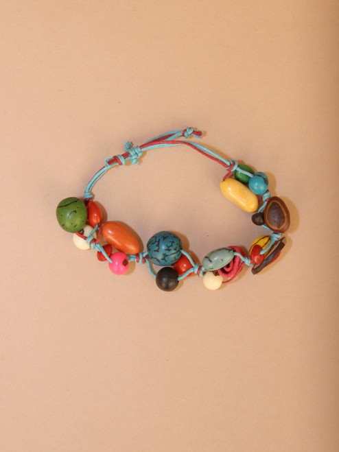 Multicolor Tagua Seed with Blue Strand Bracelet