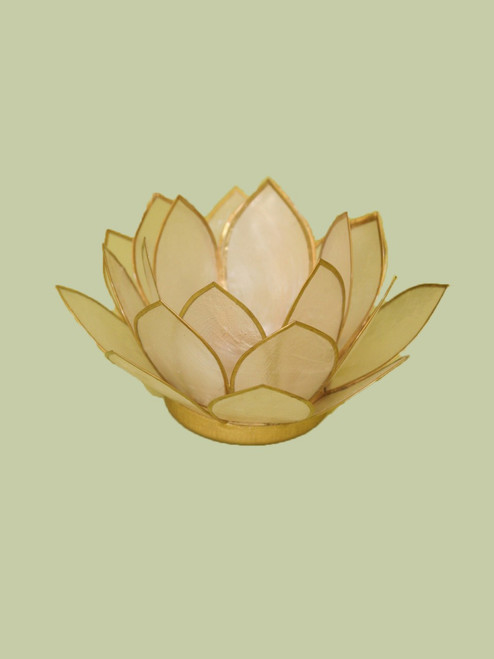 Natural with Gold Small Lotus Tea Light Holder
