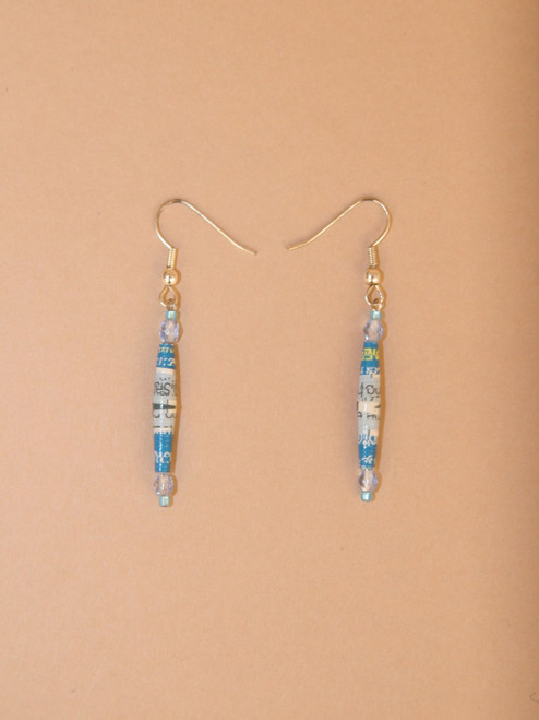 No Dangle Earrings Light Blue - Eco Beads