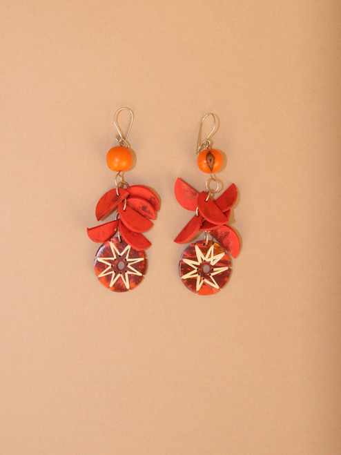 Orange Circular Pendant Earrings