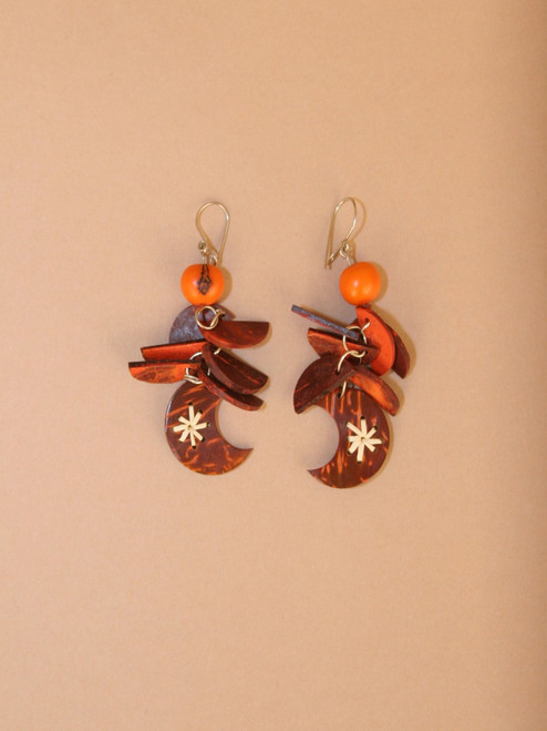Orange Crescent Moon Earrings