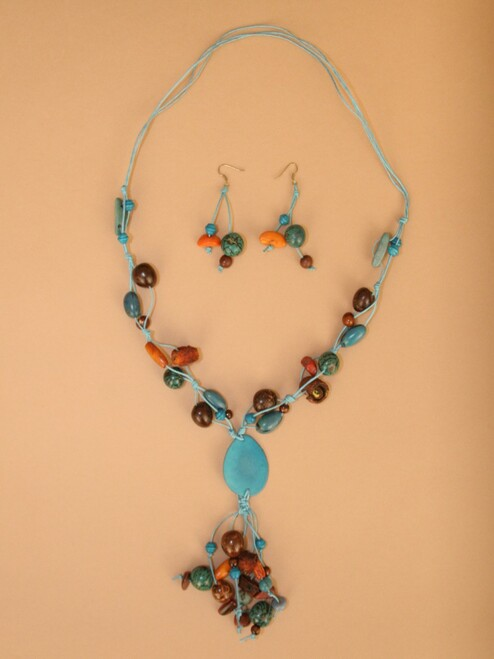 Turquoise Tagua Seed & Orange Peel  Necklace and Earring Set